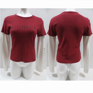 Hurley top Large layered look logo graphic slogan